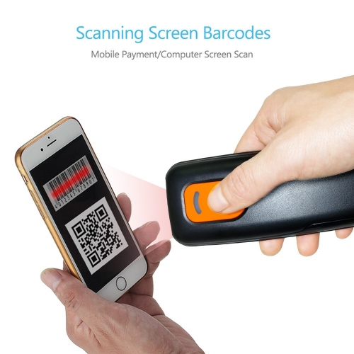 Mini 1D Wireless Barcode Scanner,Compatible with Bluetooth Function & 2.4GHz Wireless & Wired Connection, Portable Barcode Reader Work With Windows, M