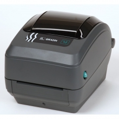 Zebra - GK420t Thermal Transfer Desktop Printer for Labels, Receipts, Barcodes, Tags, and Wrist Bands - Print Width of 4 in - USB Port Connectivity